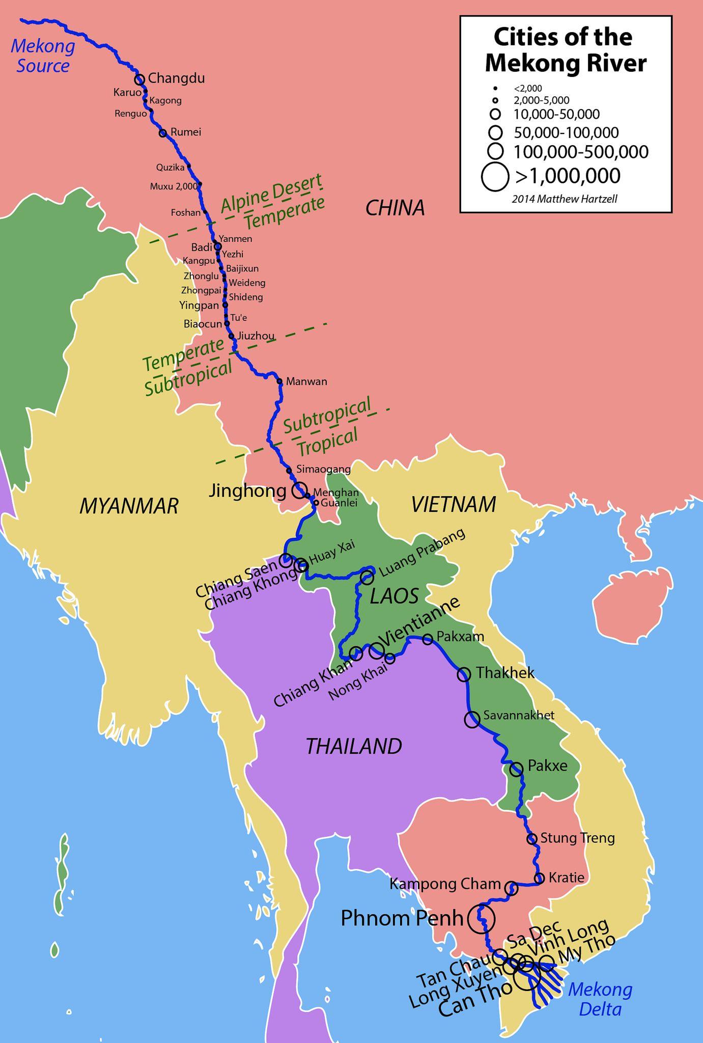 sông mekong chảy qua bao nhiêu nước